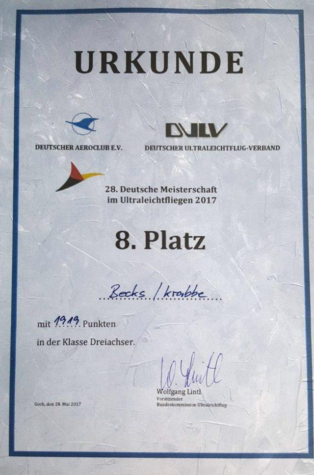 REMOS Deutsche UL-Meisterschaft 2017 Urkunde
