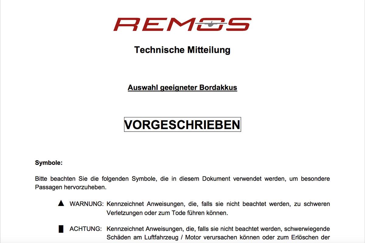 REMOS Technische Mitteilung Bordakkus Ausschnitt